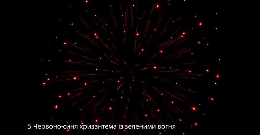 5″ Червоно-синя хризантема із зеленими вогнями в середині