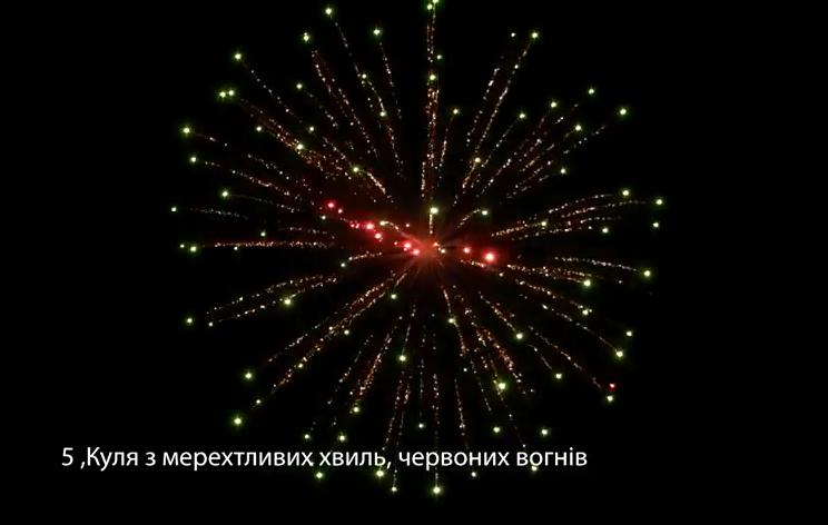 5″ Куля з мерехтливих хвиль, червоних вогнів